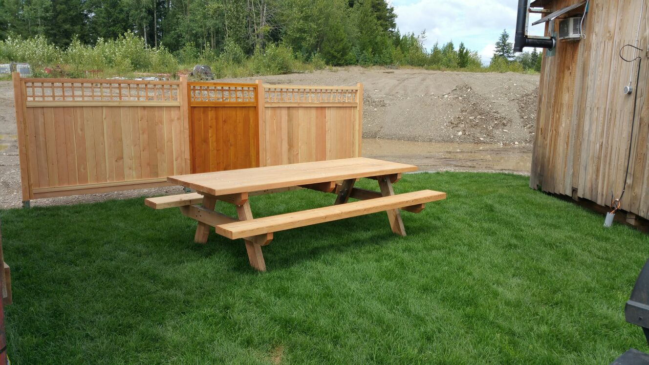 fence and picnic table